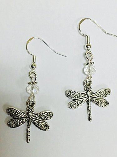 Dragonfly Earrings with Clear Crystal accent beads, on sterling silver earwires