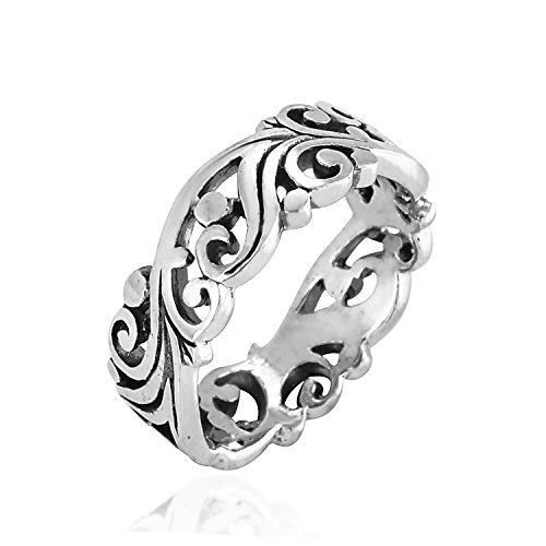 925 Sterling Silver Filigree Swirl Nature Inspired Cut-Out Band Ring - Nickel Free Size (Silver Filigree Swirl Ring)
