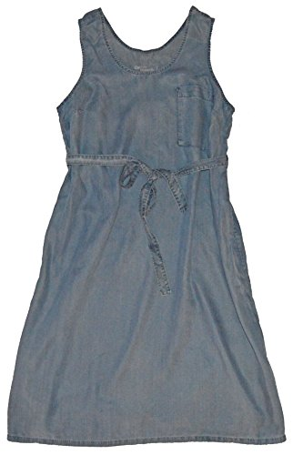 GAP Maternity Blue Chambray Denim Tank Belted Sun Dress Large