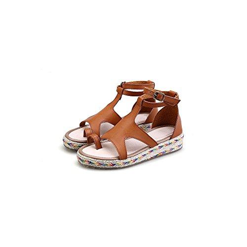 Abierto Marron de Zapatillas Alpargatas Mujer Moda Plataforma Sandalias de Tobillo ZAcUIHwcx