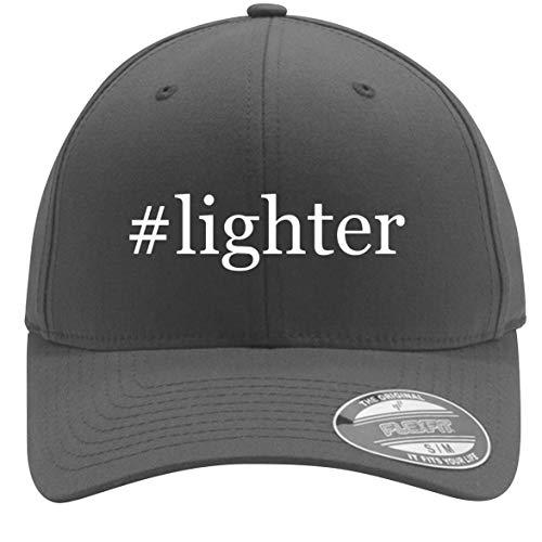 #Lighter - Adult Men's Hashtag Flexfit Baseball Hat Cap, Silver, Small/Medium