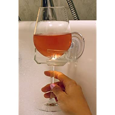 SipCaddy Bath & Shower Portable Suction Cupholder Caddy for Beer & Wine, Clear