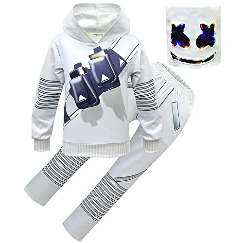 DJ Rock Cosplay Outfit Uniform Suit Hoodie and Pants Outfit Set for Teens Youth Kid Boys with Light Mask (120(Height:110-120cm)) -