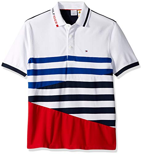 Tommy Hilfiger Men's Adaptive Polo Shirt with Magnetic Buttons Custom Fit, Bright White/Medium, (Hilfiger Shirt Tommy Stripe)