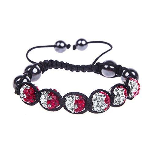 BodyJ4You Spiritual Beads Bracelet Crystal Balls Multi Color Pink Pave Ball 6 Balls