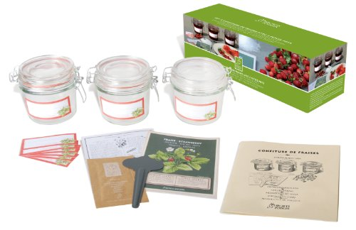 Esschert Design USA 2014 Secrets du Potager Strawberry Jam Set with 3 Small Jars