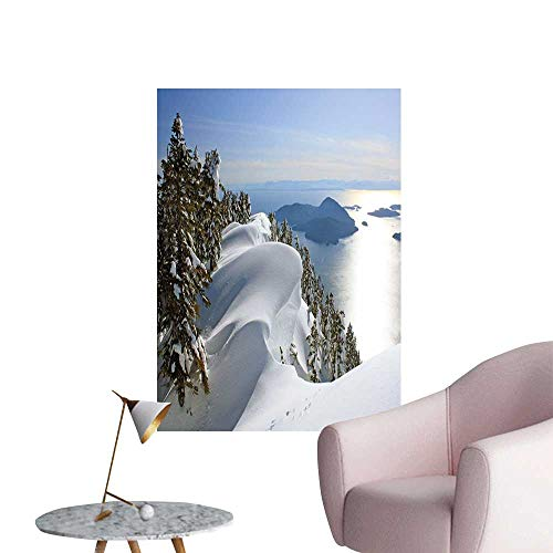 Jaydevn Winter Decals for Home Room Decoration Pacific Ocean Meets The Mountains Vancouver British Columbia Canada Wilderness Scenery Warm and Romantic W20 x H28