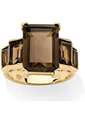 Emerald-Cut Genuine Smoky Quartz 18k Gold over .925 Sterling Silver Step Ring