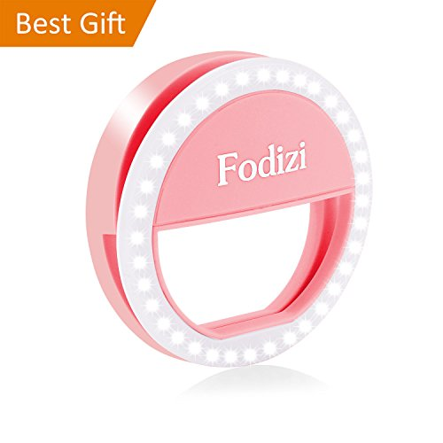 Fodizi Selfie Ring Light for Any Cell Phone [Rechargable][4 Perfect Mode] 36 Led Selfie Ring Light for iPhone iPad Clip On Camera Photography - Pink by Fodizi