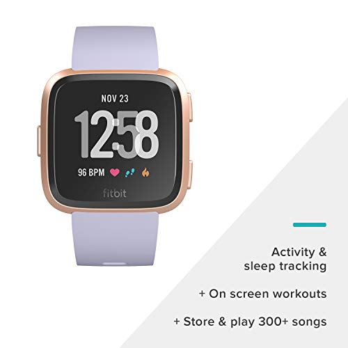 Fitbit Versa Smart Watch, Periwinkle/Rose Gold, Aluminium, One Size (S & L Bands Included) by Fitbit (Image #1)