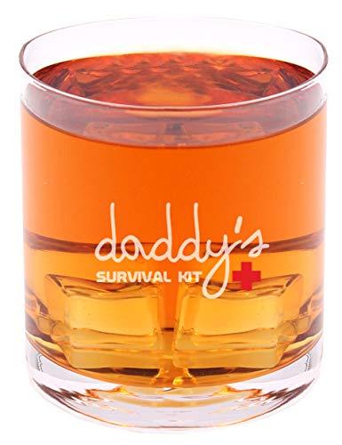 Daddys Survival Kit - Funny Novelty Whisky on the Rocks Glass with Coaster and Gift Box - 11 oz - Present for Dad Boyfriend Husband Friend Men Birthday Fathers Day Christmas