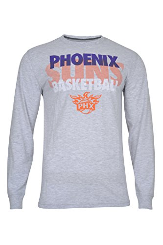 NBA Men's Phoenix Suns T-Shirt Supreme Long Sleeve Pullover Tee Shirt, Medium, Gray