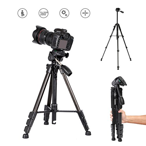 Camera Tripod, Hizek 57-inch Aluminum Lightweight Traverl Tripod 360° Rotating for DSLR Canon Nikon Sony Camera Video with Carry Bag(Black)