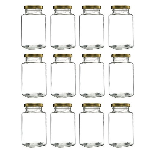 12 oz. Victorian Square Glass Jars with Screw-On Airtight