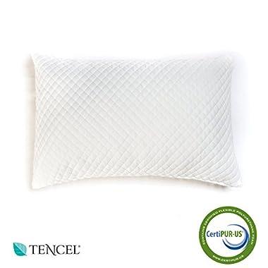 Memory Foam Tencel Pillow - Best Soft & Comfortable Pillow - Great Bedding & Bed Rest - Shredded Foam - Made In USA (Queen)
