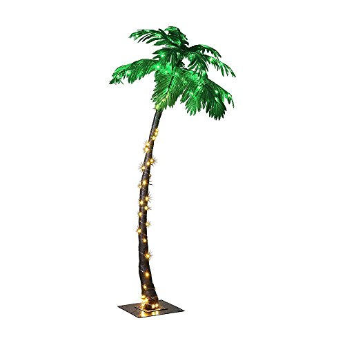4' Palm Green - LIGHTSHARE 7 Feet Palm Tree, 96LED Lights, Decoration for Home, Party, Christmas, Nativity, Outdoor Patio