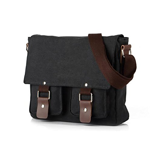 Shoulder Messenger amp; Black Canvas Koola's Women's Body School Cross Weekender Bag Vintage Men's fxq1wY