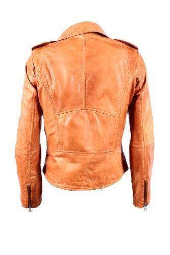 Mesdames BRANDO 442 New Tan Biker Style de moto souple Napa Rock Veste en cuir