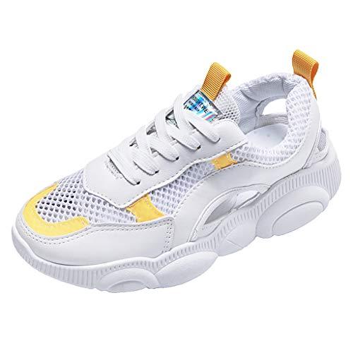 SUNyongsh Women's Fitness Workout Trail Running Shoes Fashion Sport Gym Jogging Walking Sneakers Yellow ()