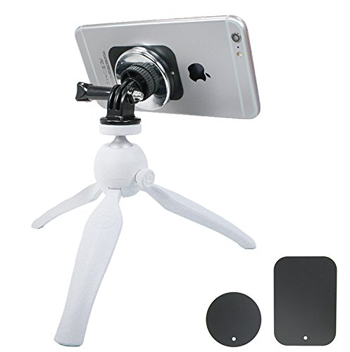 (Livestream Gear - Universal Magnetic Phone Mount and Heavy Duty White Tripod. Mount Your Phone via Magnetic Mount and Metallic Plate to This Tripod Setup for Livestreaming. Strong Hold.)