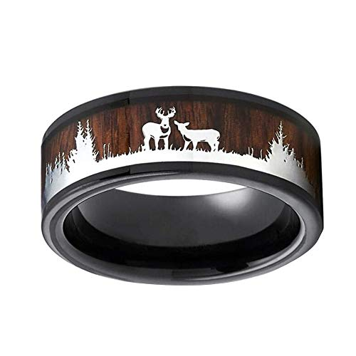 GzxtLTX Christmas Ring,Deer Rings,Wood Inlay Deer Stag Ring,8mm Mens Wedding Band, Tungsten Silicone Set Ring,Lovers Ring (Brown, 11)