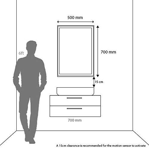 Pebble Grey 500 x 700 mm Dallas LED Illuminated Bathroom Mirror with Demister Pad /& IR Sensor Switch