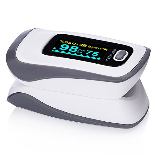 Pulse Oximeter Finger Probe - MeasuPro Instant Read Digital Pulse Oximeter, Oxygen Sensor and Pulse Rate Monitor with Alarm Setting, Color OLED Display and Carry Case, CE