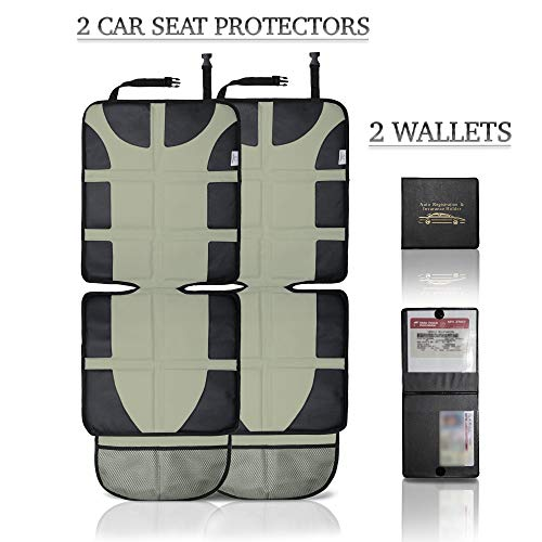 (2-Pack) Car Seat Protector Cover for Kids & Adults. Largest Coverage & Thickest Padding Cushion with Organizer Pockets. Waterproof Easy Clean Oxford Fabric Breathes, Comfortable (TAN)