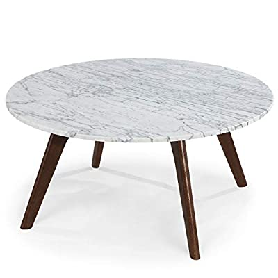 POLY & BARK Riley Marble Round Coffee Table, Walnut - Carrara marble top 14mm thick sealed marble American White Oak with Walnut finish - living-room-furniture, living-room, coffee-tables - 41ue64WANzL. SS400  -