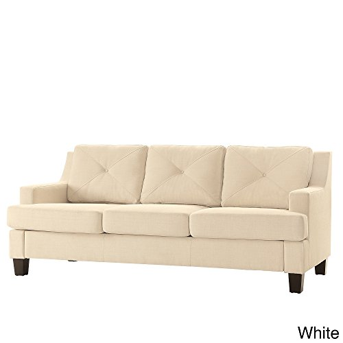 Modern Elston Button Tufted Sloped Arm Sofa with Track Living Room Decor Espresso Wooden Feet and Foam Seat Cushions White Linen