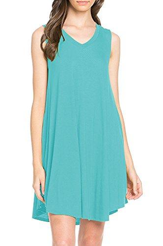 LILBETTER Women's Sleeveless Summer Swing Tank Sundress tank top dresses (Nile Blue XL)