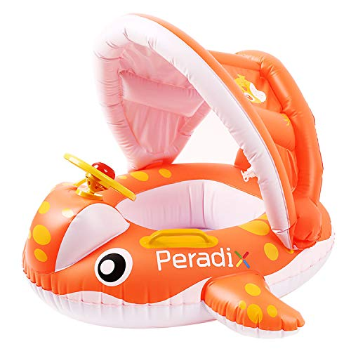 Peradix Baby Pool Float with Canopy Sunshade, Whale Theme Infants Water Toys Inflatable Swimming Ring for Toddlers in Summer, with Bonus Sunhat & Sand Play Molds Toys