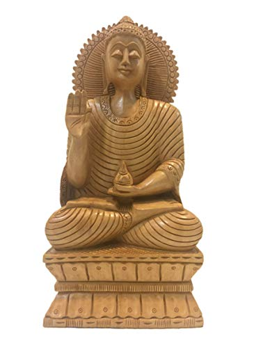 (Buddha statue sitting in meditation with a smile in wood 10 inches - Buddha idols and figurine hand carved in wood - Zen decor, Buddah idols )