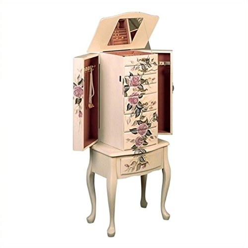 (BOWERY HILL Hand Painted Rose Pattern Jewelry Armoire in White )
