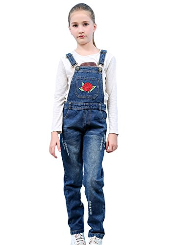 Tortor 1Bacha Kid Girls' Rose Flower Embroidered Distressed Denim Bib Overall Blue 8-9 Years