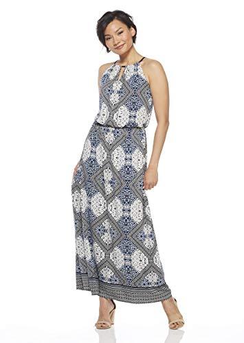 (London Times Women's Sleeveless Keyhole Halter Blouson Maxi Dress, tan Navy, 14)