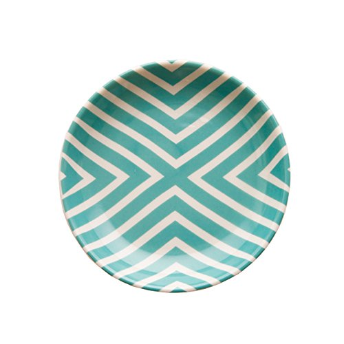 Ceramic Geometry Round Trinket Dish,Green
