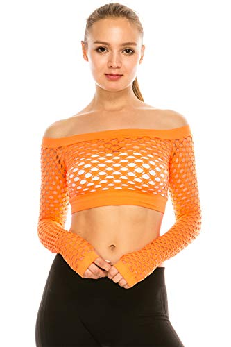 Kurve Stretchy Fishnet Long Sleeve Top, UV Protective Fabric, Rated UPF 50+ (Made with Love in The USA) Neon Orange