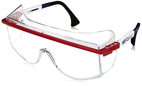 Uvex S2530 Astrospec OTG 3001 Safety Eyewear, Red/White/Blue Frame, Clear Ultra-Dura Hardcoat Lens -