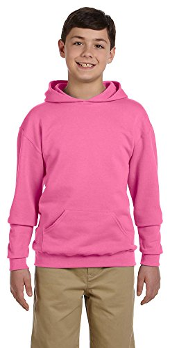 (Jerzees Youth 8 oz, 50/50 NuBlend Fleece Pullover Hood, Small, NEON Pink)