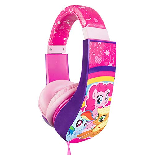 My Little Pony 30357 Kid Safe Over the Ear Cushioned Headphone w/Volume Limiter, 3.5MM Stereo Jack Pink Rainbow Horses Equestrian by Sakar, Full Range Stereo Sound, (Styles may vary), Pink