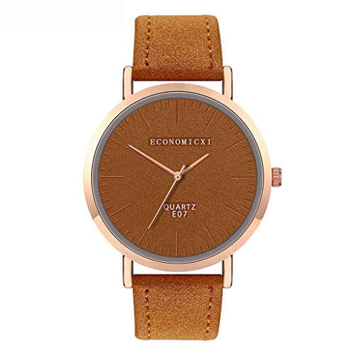 WoCoo Fashion mens watches clearanc Analog Quartz Watch Simple Big Face Dial Watches with Leather Band Wrist Watch,Goddess choices Mirar(Coffee)