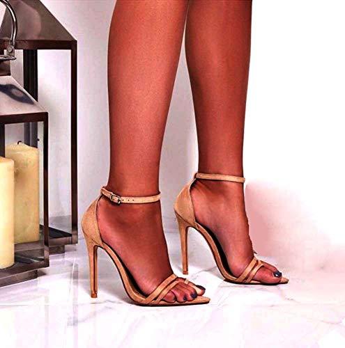 Vestido Noche Aguja Beige Tacones Zapatos Oficina Talones De Abierto Mujeres Ghfjdo Los Para Correa Fiesta Puntera Sandalias Ante Stilettos Tobillo La TCFRBqwaP