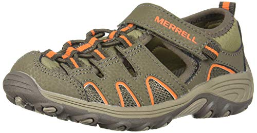 (Merrell Boys' Hydro H2O Hiker Sandal, Gunsmoke/Orange 4 Medium US Big Kid)