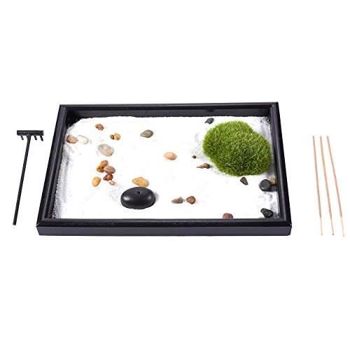 Juvale Zen Garden - Sand, Rock, and Rake for Relaxation and Meditation, for Zen Gardening, Black and White, 11.6 x 0.8 x 7.9 Inches
