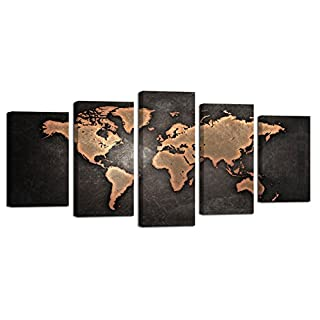 Ardemy my furnitureore ardemy canvas art painting antique abstract world map 5 pieces giclee prints waterproof artwork picture gumiabroncs Image collections