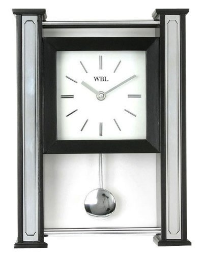 Black Wood and Silver Chrome Design Ultra Modern Wall or Mantel Clock with Moving Pendulum