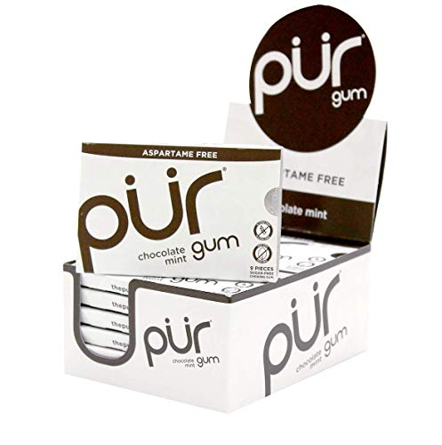 The PUR Company   Sugar-Free + Aspartame-Free Chewing Gum   100% Xylitol   Chocolate Mint   Vegan + non GMO   9 Pieces per Pack (Tray of 12, 108 Pieces)