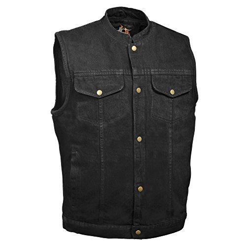 ZOOM LEATHER-Men's Snap Front Denim Vest w/Gun Pocket-BLACK-LG
