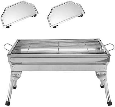 Barbecue à Charbon Jardinières Portable Grills Hauteur Ajustable, avec Support en Acier Inoxydable, Inoxydable, Can Camp pour 3-5 Personnes, Argent